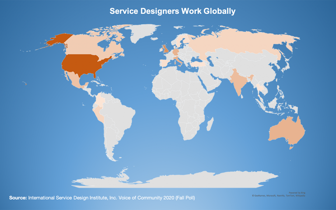 Image of the world showing where services designers work.