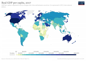 Average wages across the globe with U.S. Western Europe, Japan and Australia in the lead.